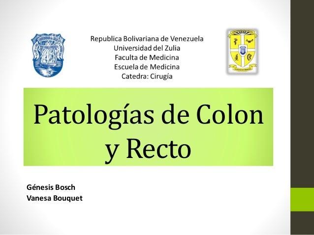 Patologías de Colon  y Recto  Génesis Bosch  Vanesa Bouquet