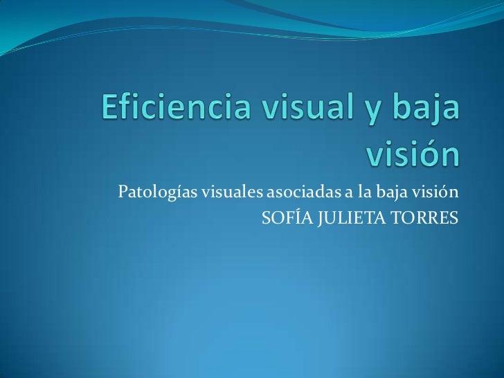 Patologías visuales asociadas a la baja visión                   SOFÍA JULIETA TORRES