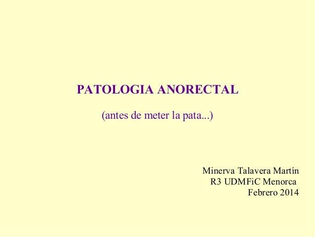 PATOLOGIA ANORECTAL (antes de meter la pata...) Minerva Talavera Martín R3 UDMFiC Menorca Febrero 2014