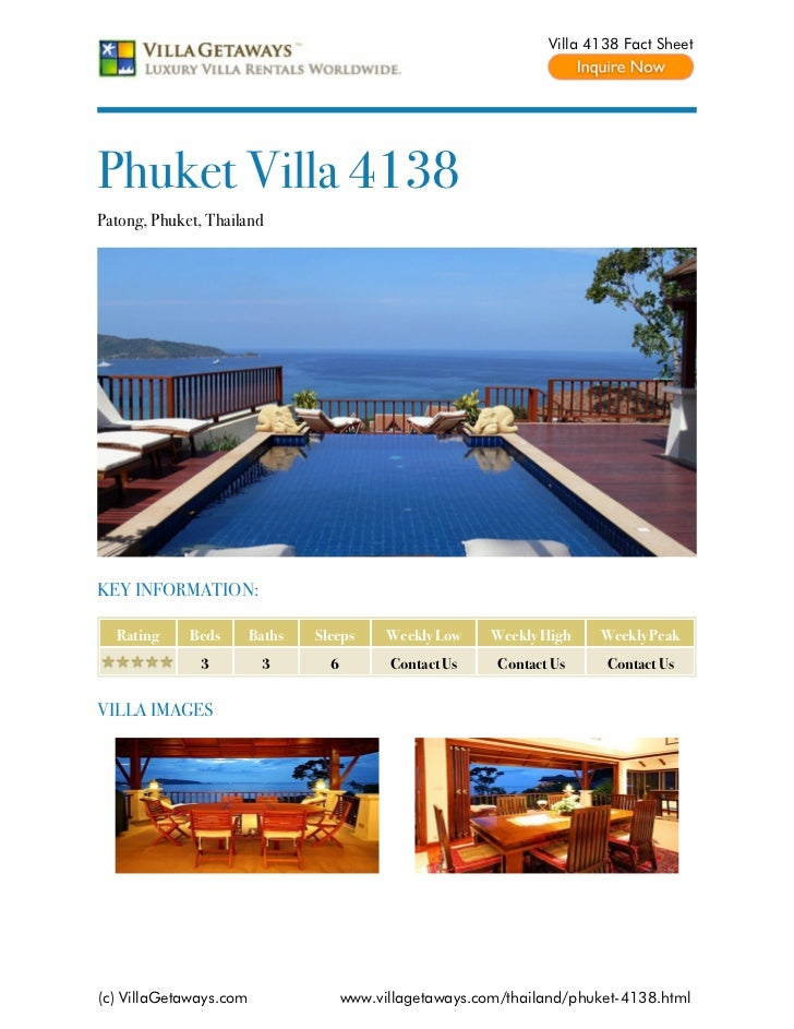 Villa 4138 Fact SheetPhuket Villa 4138Patong, Phuket, ThailandKEY INFORMATION:  Rating     Beds       Baths   Sleeps      ...