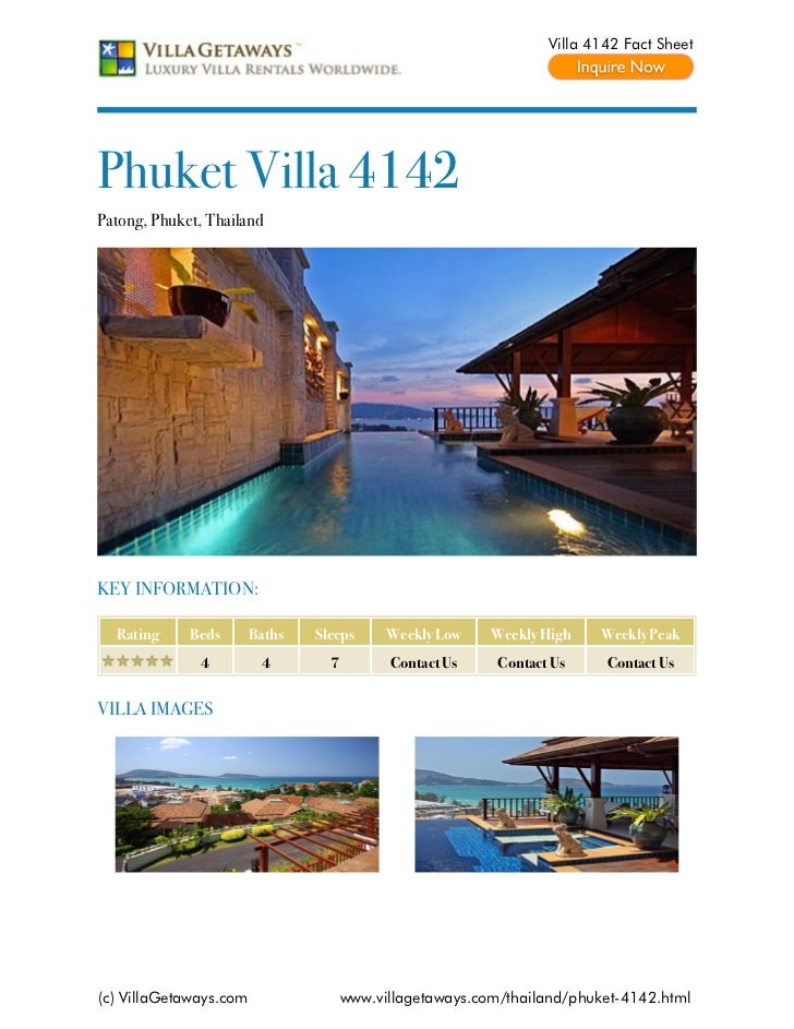 Villa 4142 Fact SheetPhuket Villa 4142Patong, Phuket, ThailandKEY INFORMATION:  Rating     Beds       Baths   Sleeps      ...