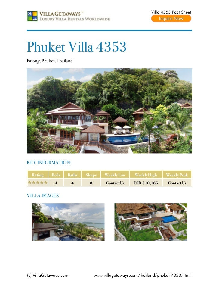 Villa 4353 Fact SheetPhuket Villa 4353Patong, Phuket, ThailandKEY INFORMATION:  Rating     Beds    Baths   Sleeps     Week...