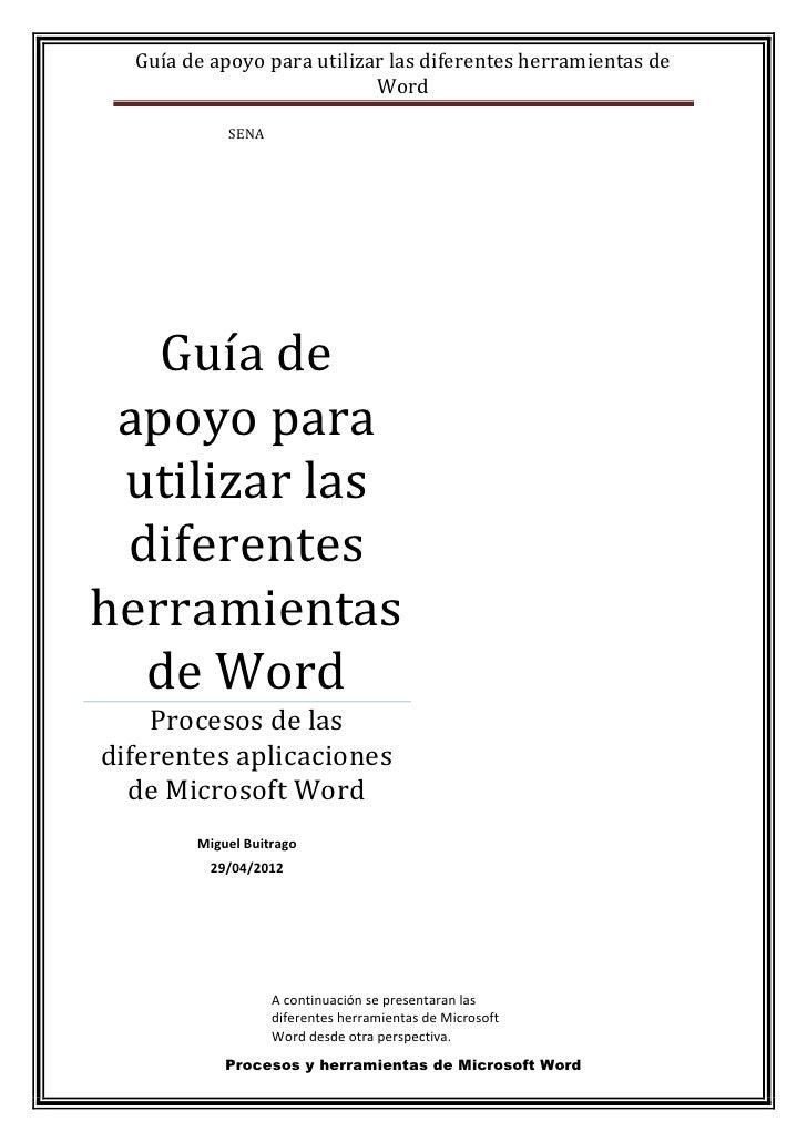 Guía de apoyo para utilizar las diferentes herramientas de                            Word            SENA   Guía de apoyo...