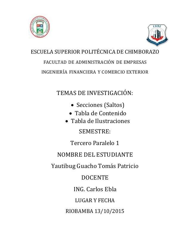 ESCUELA SUPERIOR POLITÉCNICA DE CHIMBORAZO FACULTAD DE ADMINISTRACIÓN DE EMPRESAS INGENIERÍA FINANCIERA Y COMERCIO EXTERIO...