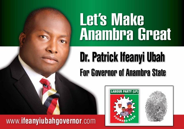 Dr Patrick ifeanyi ubah's Manifesto