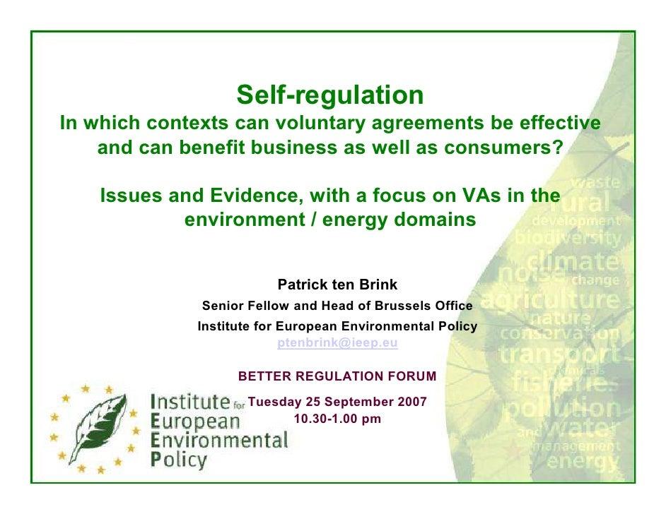 Patrick ten Brink IEEP Self Regulation 25 September 2007 at EPC Better Regulation Forum