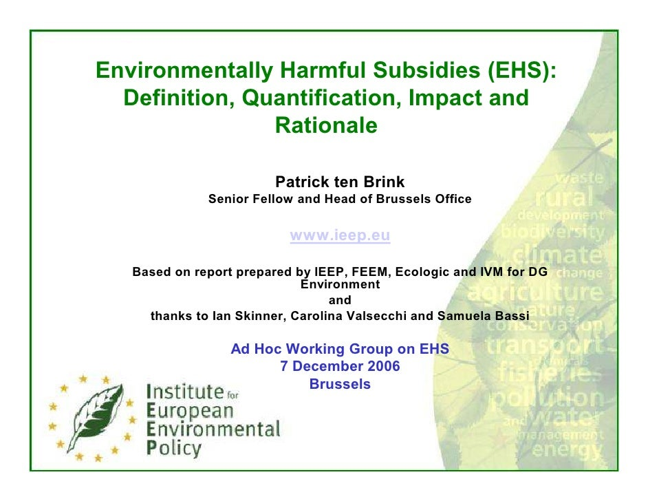 Environmentally Harmful Subsidies (EHS):   Definition, Quantification, Impact and                 Rationale               ...
