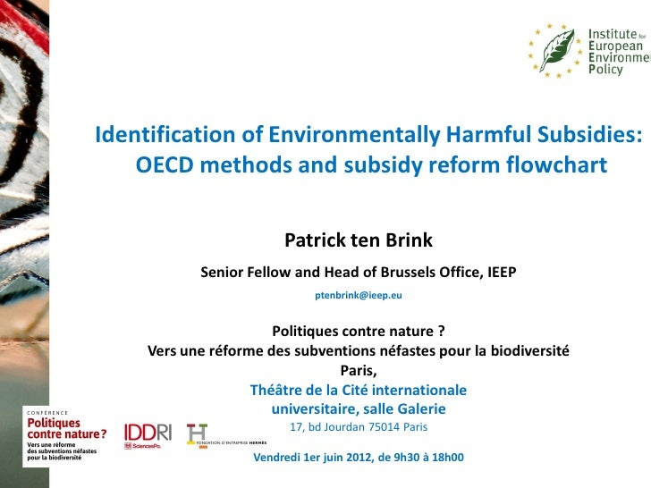 Identification of Environmentally Harmful Subsidies:    OECD methods and subsidy reform flowchart                         ...