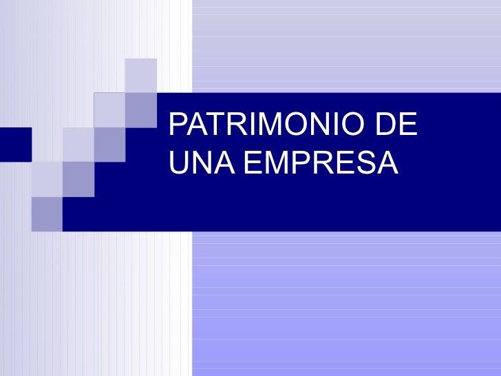 Patrimonio De Una Empresa