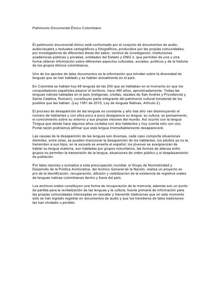 Patrimonio Documental Étnico ColombianoEl patrimonio documental étnico está conformado por el conjunto de documentos de au...