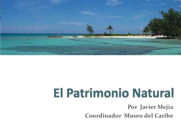 El Patrimonio Natural <br />Por  Javier Mejia<br />Coordinador  Museo del Caribe<br />