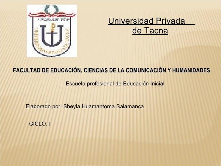 Universidad Privada  de Tacna   FACULTAD DE EDUCACIÓN, CIENCIAS DE LA COMUNICACIÓN Y HUMANIDADES Escuela profesional de Ed...