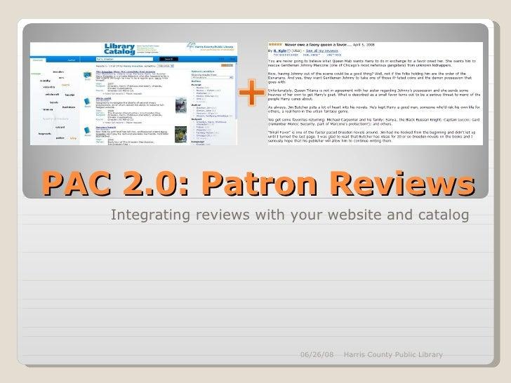PAC 2.0: Patron Reviews