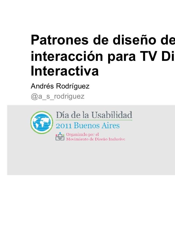 Patrones de diseño de interacción para tv digital interactiva