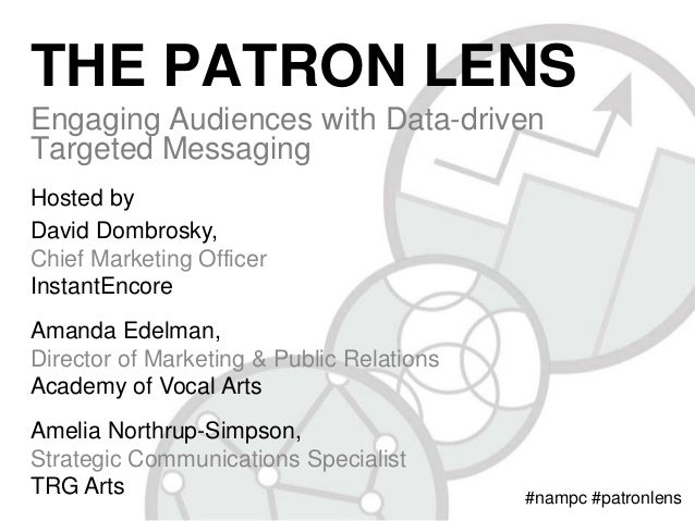 THE PATRON LENS Engaging Audiences with Data-driven Targeted Messaging Hosted by David Dombrosky, Chief Marketing Officer ...