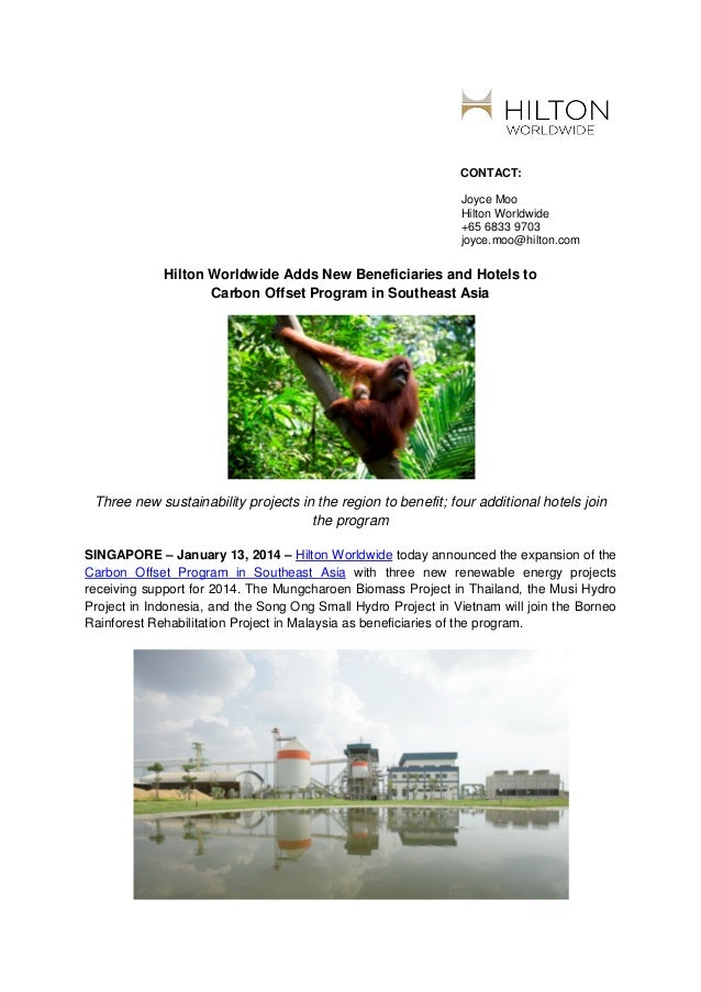 Hilton Worldwide Adds New Beneficiaries and Hotels to Carbon Offset Program in Southeast Asia