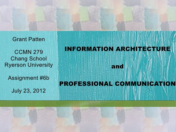 Information Architecture and Professional Communication