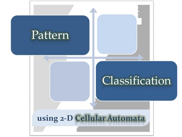 Pattern                 Classification using 2-D Cellular Automata