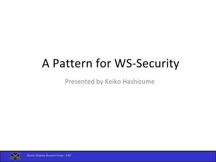 Pattern For Ws Security