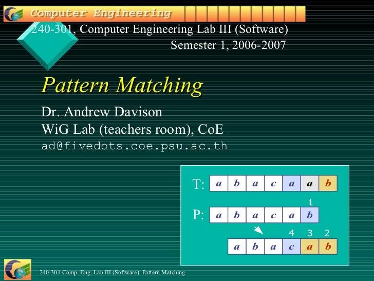 Pattern Matching Dr. Andrew Davison WiG Lab (teachers room) , CoE [email_address] .psu.ac.th 240-301, Computer Engineering...