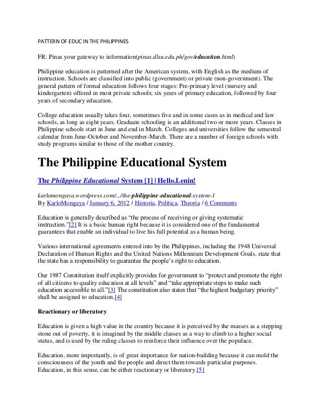 PATTERN OF EDUC IN THE PHILIPPINES  FR: Pinas your gateway to information(pinas.dlsu.edu.ph/gov/education.html) Philippine...