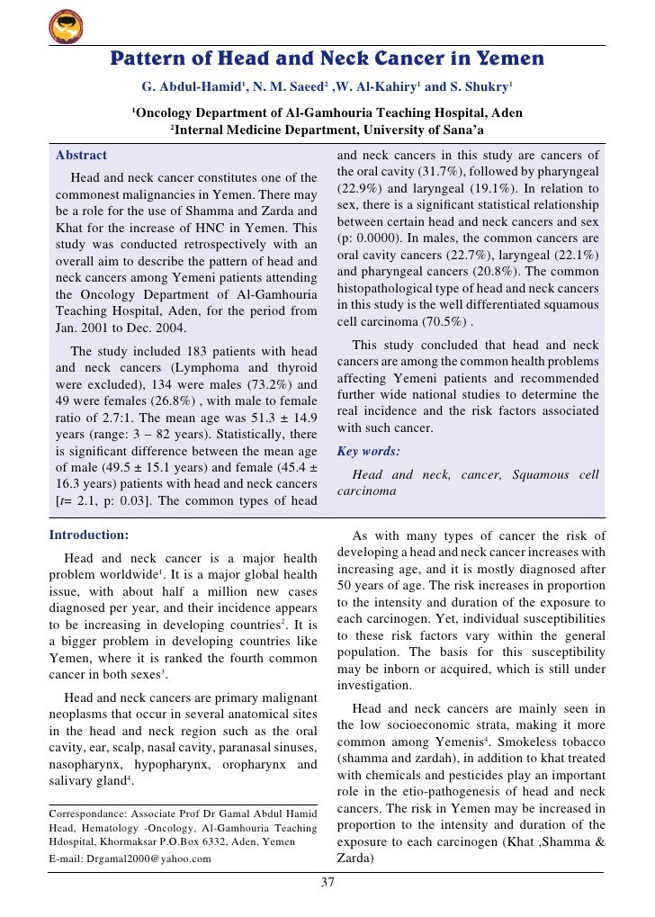 Pattern of head and neck cancer in yemen.pdf last