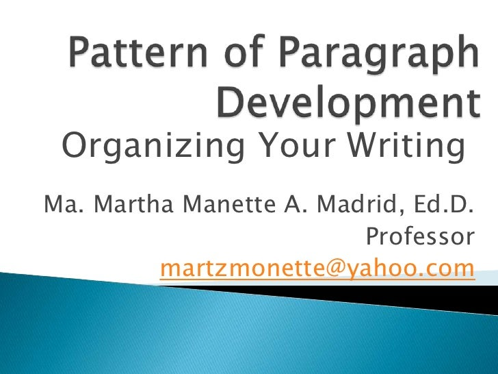 Organizing Your WritingMa. Martha Manette A. Madrid, Ed.D.                         Professor         martzmonette@yahoo.com