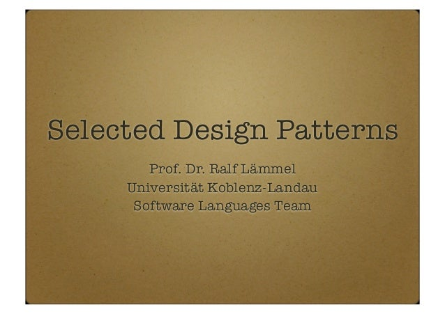 Selected design patterns (as part of the the PTT lecture)