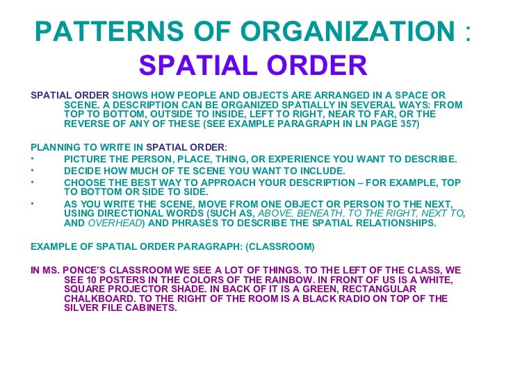 structure essay using spatial organization Descriptive essay writing tips descriptive essay structure to write descriptive essay spatial organization is one of the principles of organization in writing that arranges items according to their relationships or physical position.