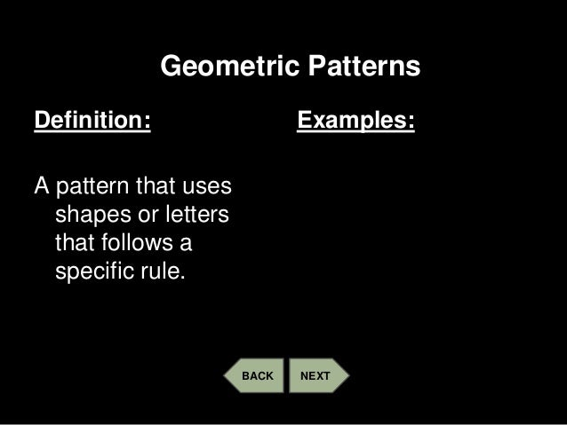 Please give me an example of a geometric pattern?