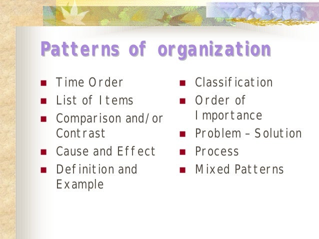 pattern of organization in an essay Patterns of organization separating supporting points from main ideas is an important reading skill the organization of the supporting details will help you understand how an author thinks detecting the patterns of organization of the major and minor details can help with comprehension and retention.