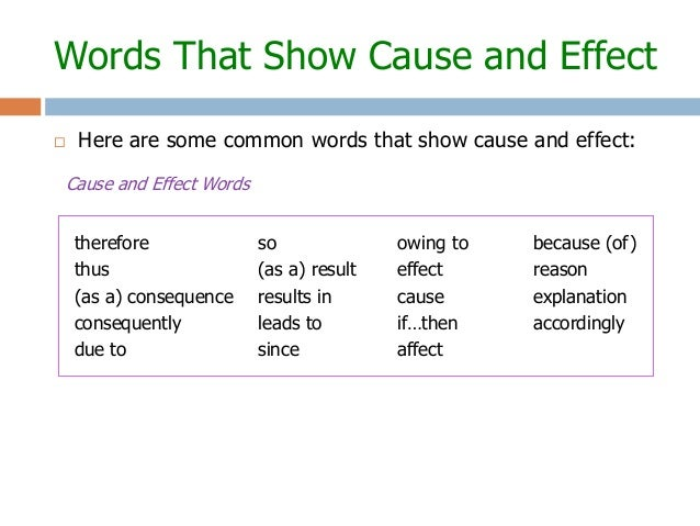 cause and effect words to use in a essay Free cause and effect papers cause and effect essay - the true cause of school shootings - most of us learned when we cause and effect essays] 403 words.