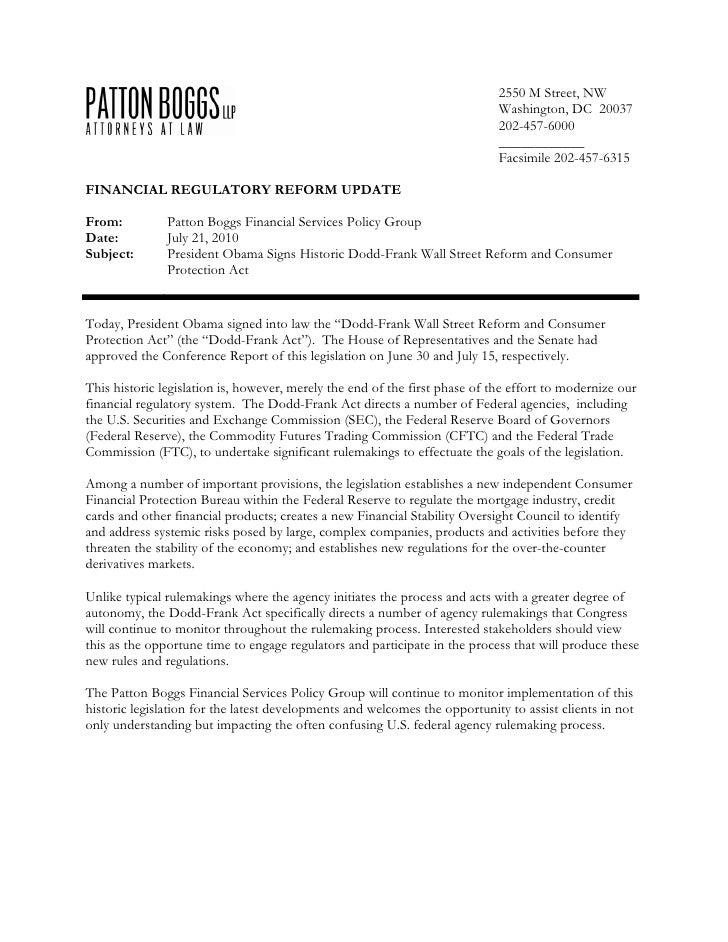 Patton Boggs Dodd-Frank Reform Analysis