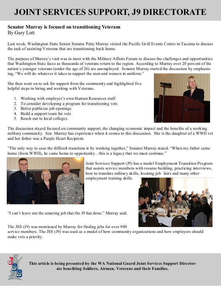 JOINT SERVICES SUPPORT, J9 DIRECTORATESenator Murray is focused on transitioning VeteransBy Gary LottLast week, Washington...