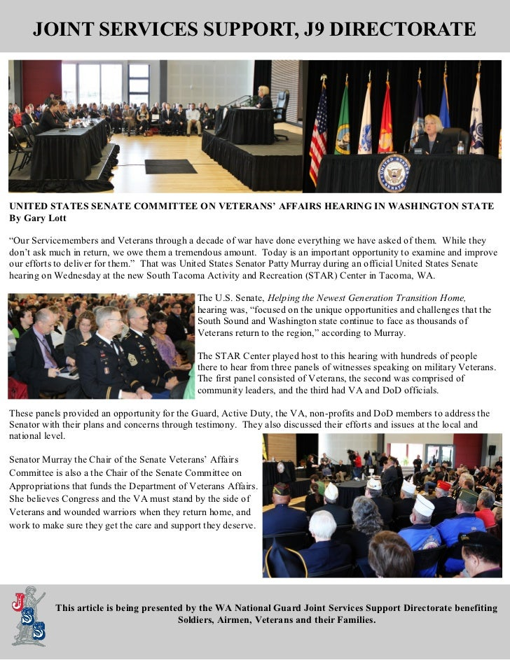 JOINT SERVICES SUPPORT, J9 DIRECTORATEUNITED STATES SENATE COMMITTEE ON VETERANS' AFFAIRS HEARING IN WASHINGTON STATEBy Ga...
