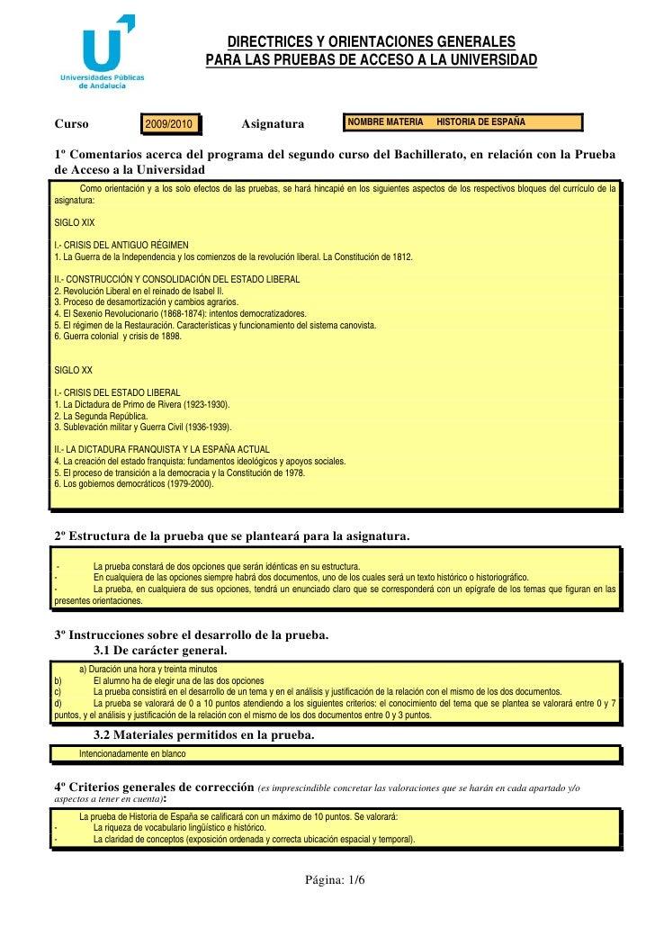 DIRECTRICES Y ORIENTACIONES GENERALES                                           PARA LAS PRUEBAS DE ACCESO A LA UNIVERSIDA...