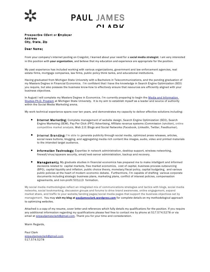 Paul Clark Social Media Cover Letter Digital Marketing Executive