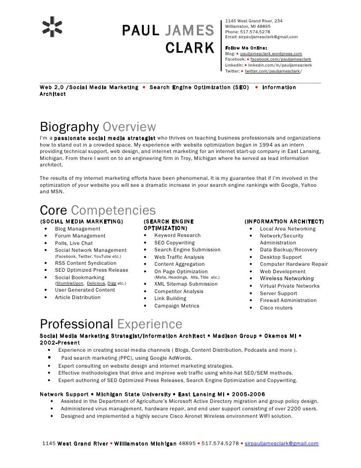 paul clark social media resume