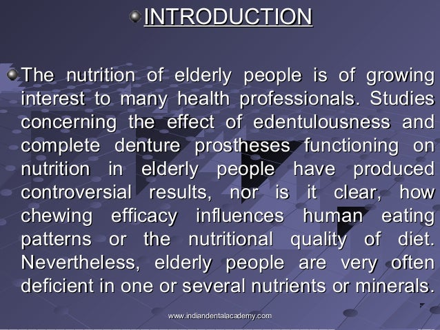 literature review of nutrition in elderly people Health and community care older people living in the community - nutritional needs, barriers and interventions: a literature review.