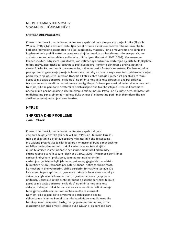 NOTIMI FORMATIV DHE SUMATIVSIPAS NOTIMIT TË ARSIMTARËVE:SHPRESA DHE PROBLEMEKoncepti i notimit formativ haset ne literatur...
