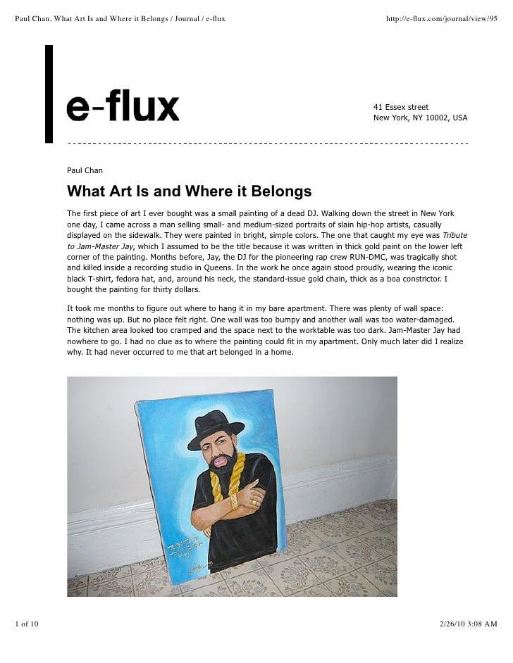 Paul Chan, What Art Is And Where It Belongs   Journal   E Flux