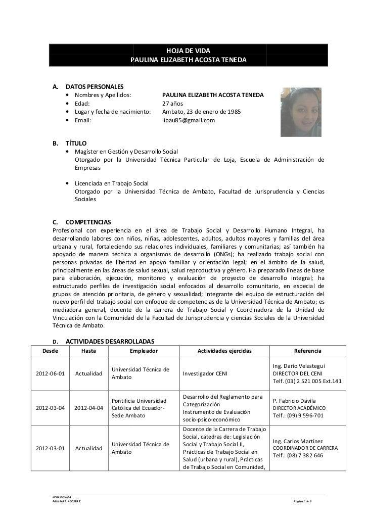 HOJA DE VIDA                                           PAULINA ELIZABETH ACOSTA TENEDA     A.       DATOS PERSONALES      ...