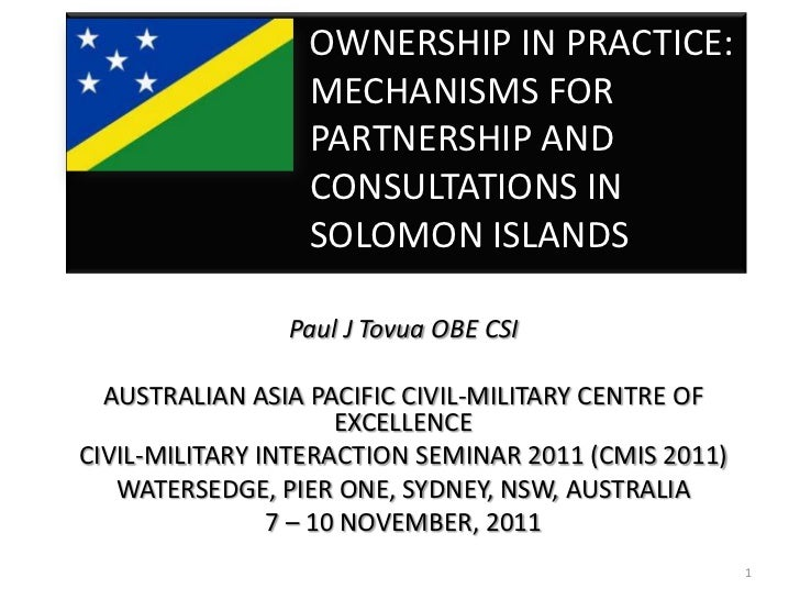 OWNERSHIP IN PRACTICE:                  MECHANISMS FOR                  PARTNERSHIP AND                  CONSULTATIONS IN ...