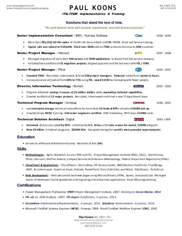 itil foundation resume