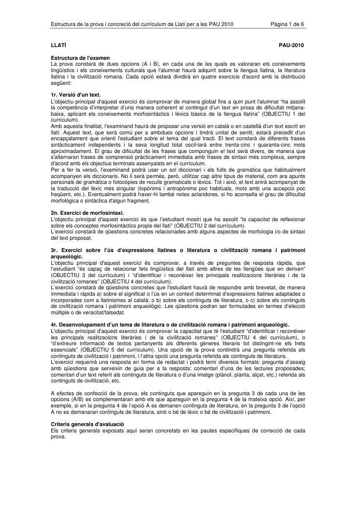 Les noves PAU de llatí 2010