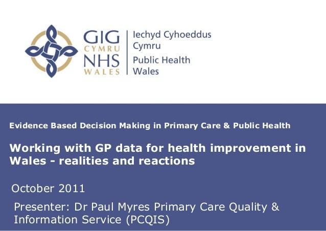 Paul Myers presentation WSPCR 2011