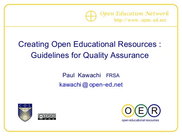 Creating Open Educational Resources :  Guidelines for Quality Assurance