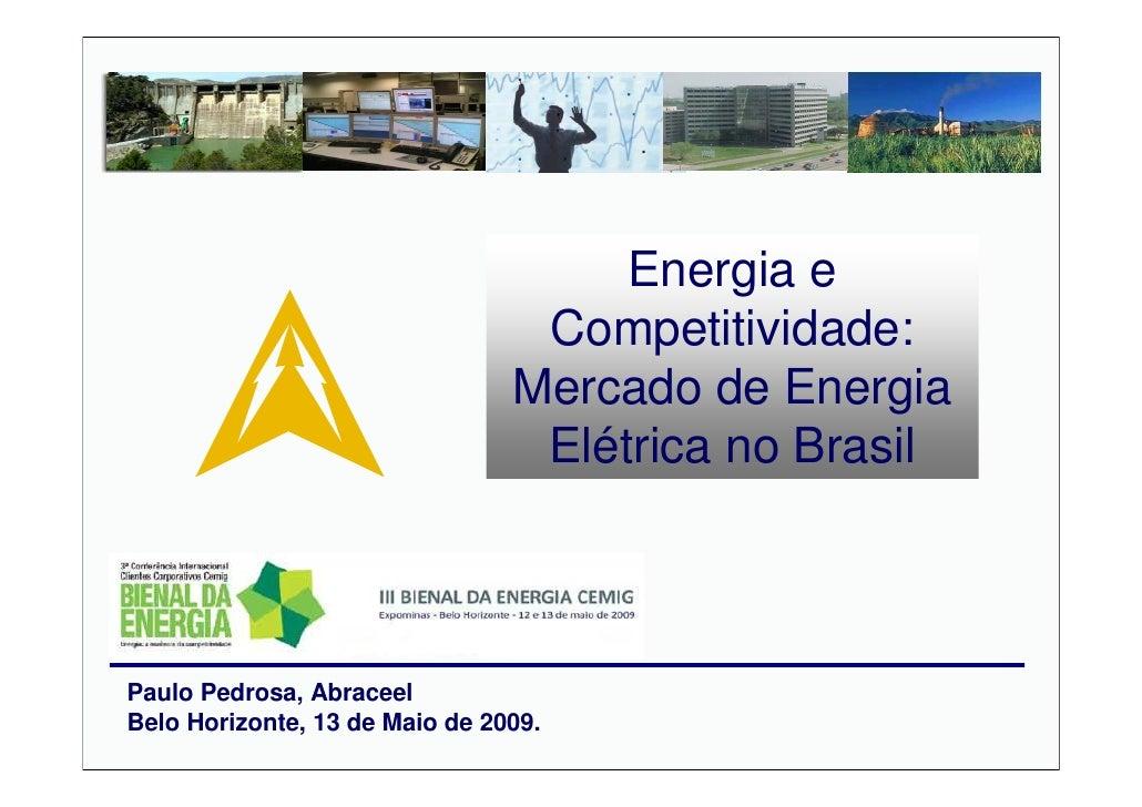 Palestra: Energia e Competitividade: Mercado de Energia Elétrica no Brasil. Palestrante: Paulo Pedrosa