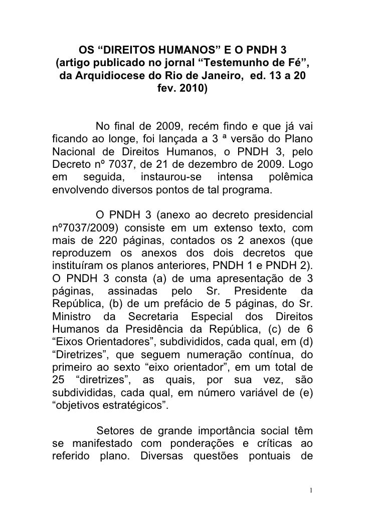 """OS """"DIREITOS HUMANOS"""" E O PNDH 3 (artigo publicado no jornal """"Testemunho de Fé"""",  da Arquidiocese do Rio de Janeiro, ed. 1..."""