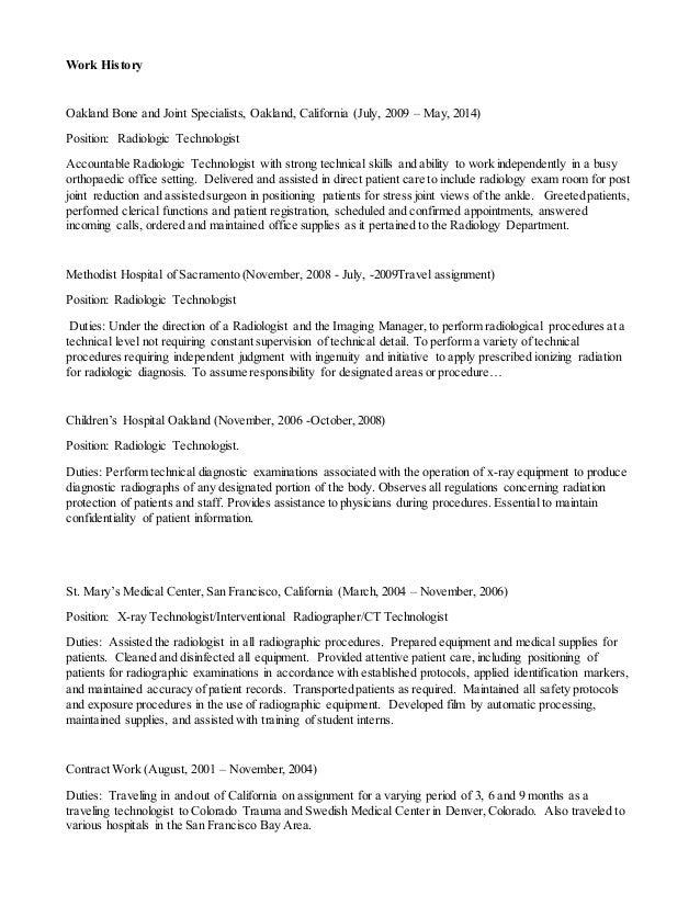tech resume healthcare medical resume radiologic technologist resume ...